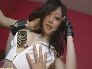 Brunette Asian girl Asuka Mimi fondled and fucked hard