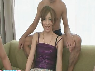 Hot Japanese Nana tries hard to entertain three wankers