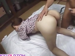 Tomoe Hinatsu gets a strong dick to pound her hairy cunt