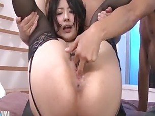 Two horny guys tag team sexy Megumi Haruka filling her mouth