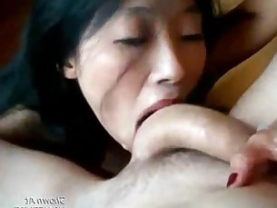 Asian Sucks White Cock