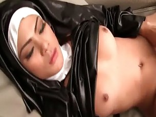 Pretty shemale jerking her cock and gets anal