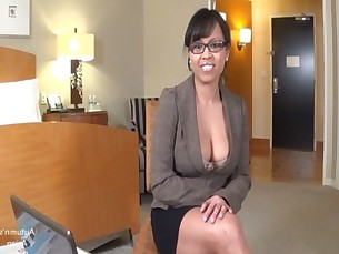 Hot Asian Accountant Sucks White Cock