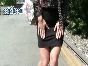 Asian Jasmine full bladder wetting her jeans &amp_ spandex omorashi