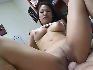 creampie pov in a naturally busty thai