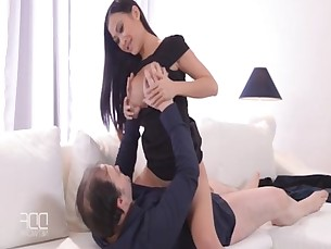 Asian office babe PussyKat gets a hard dick in her ass